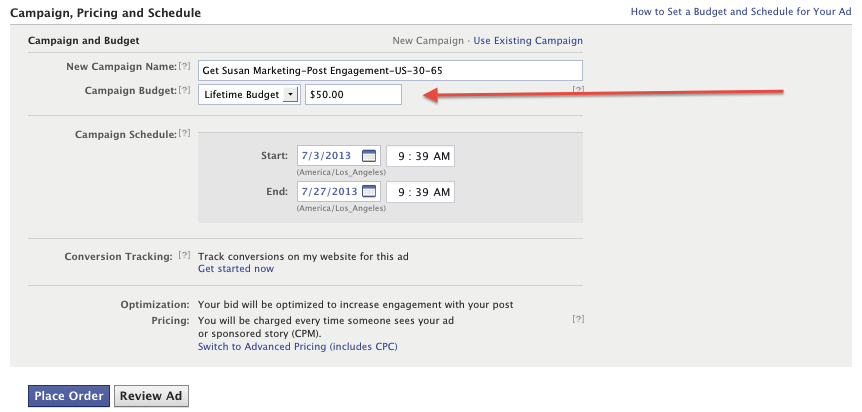 setting the budget of your fb ad, get susan marketing
