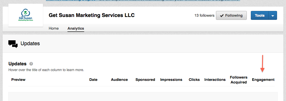 LinkedIn has a nice native analytics feature. Helps you to track engagement on your company page.