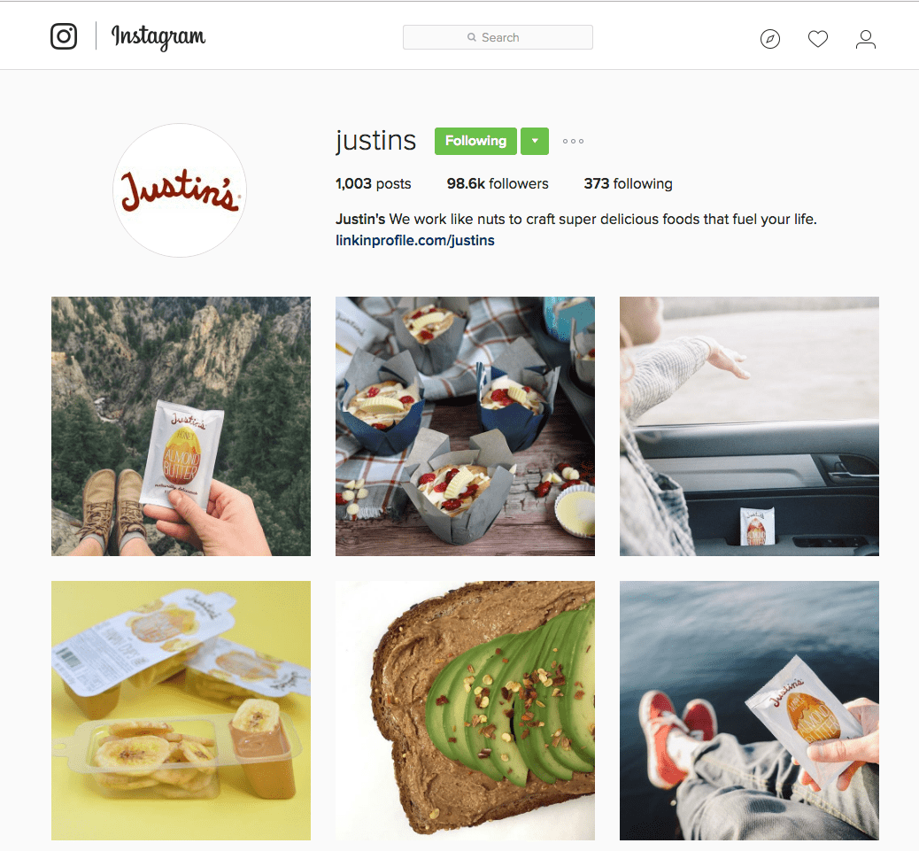 instagram for small business - justin's nut butter